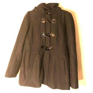 Guess Black Wool Pea Coat